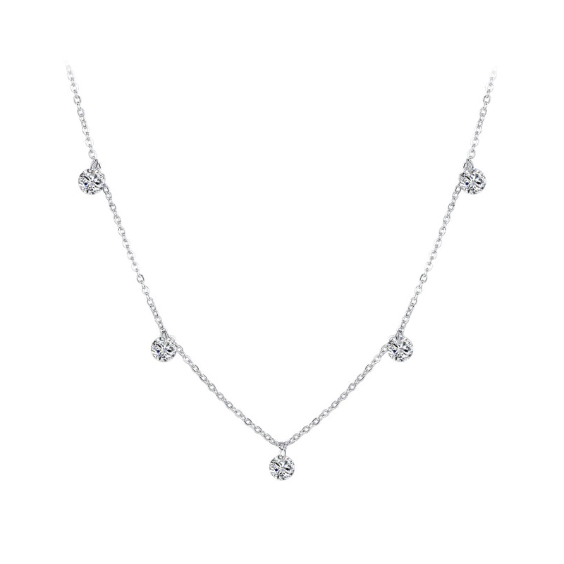 Five Cubic Zirconia Necklace 925 Sterling Silver Chain