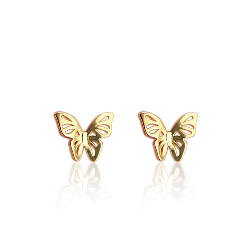 Butterfly Earrings Gold Plated 925 Sterling Silver
