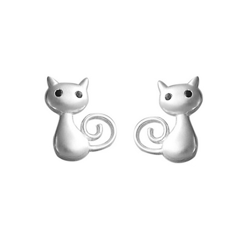Cat Earrings Stud 925 Sterling Silver Black CZ