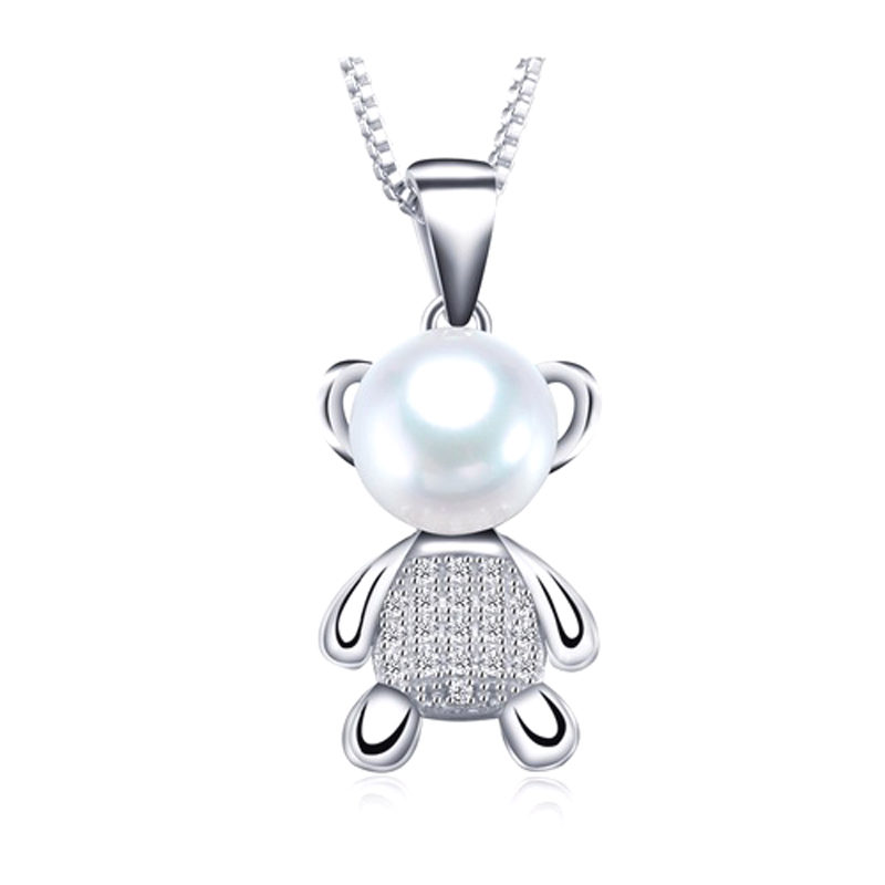 Cute Bear Pendant Necklace Pearl 925 Sterling Silver