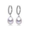 Freshwater Drop Earrings 925 Sterling Silver CZ