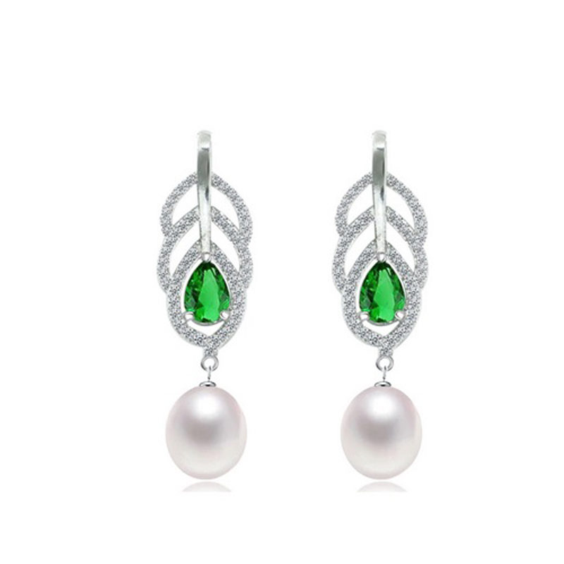 Freshwater Pearl Drop Earrings CZ 925 Sterling Silver