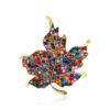 Maple Leaf Pin Multi-Color Rhinestone Clothes Brooch