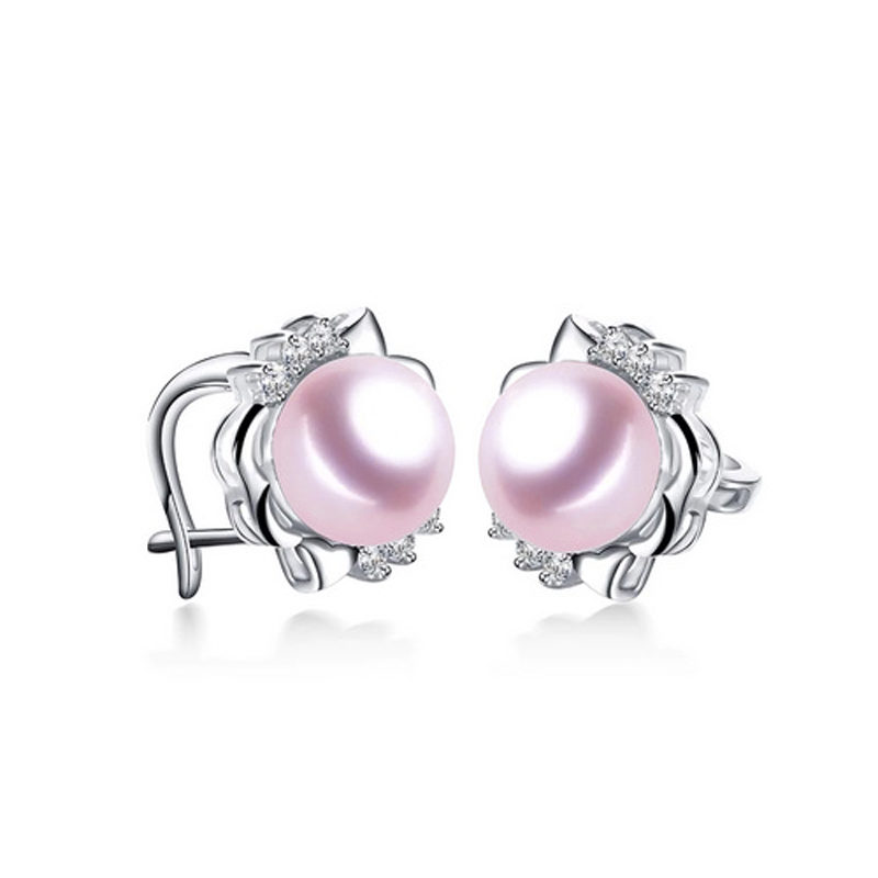 Pearl Luster Stud Earrings CZ 925 Sterling Silver