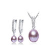 Pearl Necklace Earrings Set 925 Sterling Silver