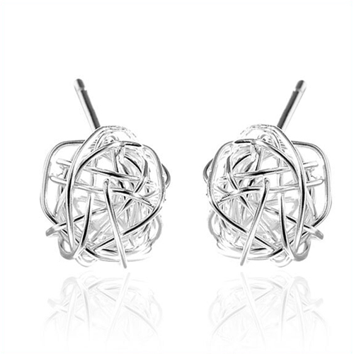 Thread Earrings Stud 925 Sterling Silver