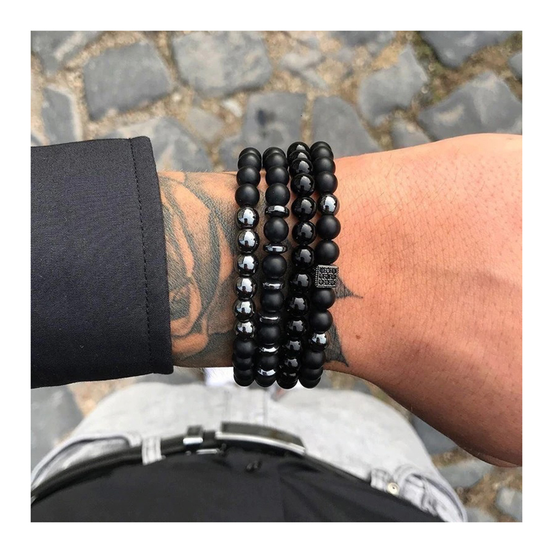 Men's Bracelet Sets Beaded Stretch Charm Leather
