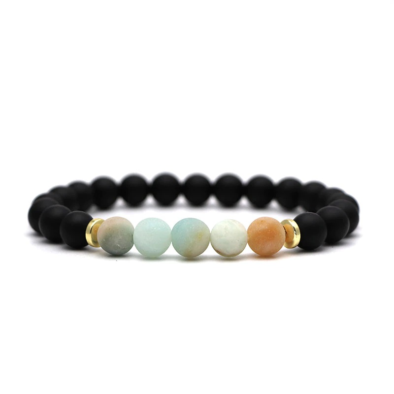 beaded-charm-stretch-bracelets-natural-multi-stones-matte-black-onyx-amazonite