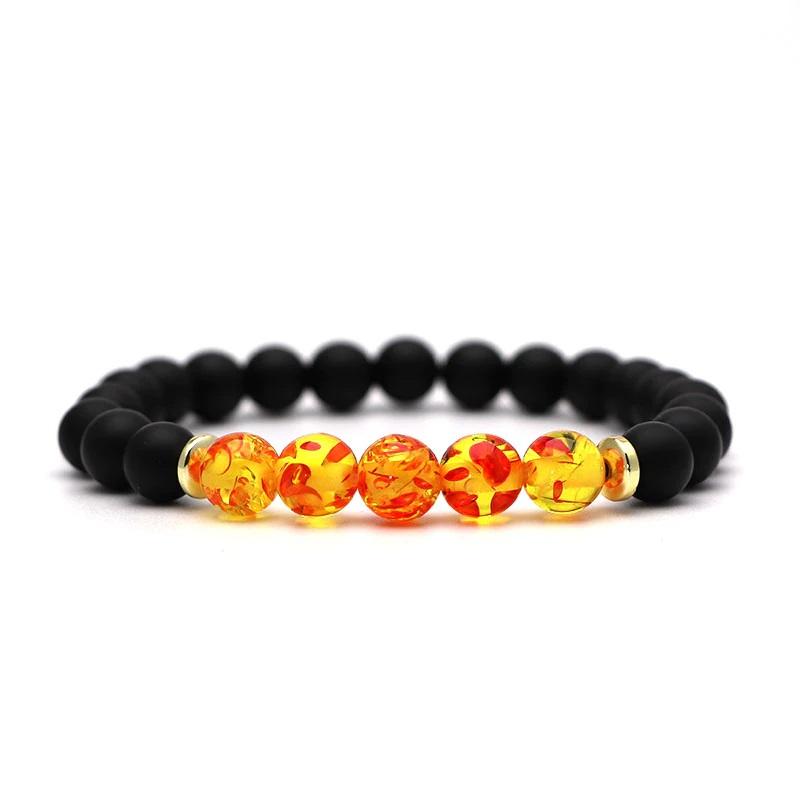 beaded-charm-stretch-bracelets-natural-multi-stones-matte-black-onyx-amber-resin