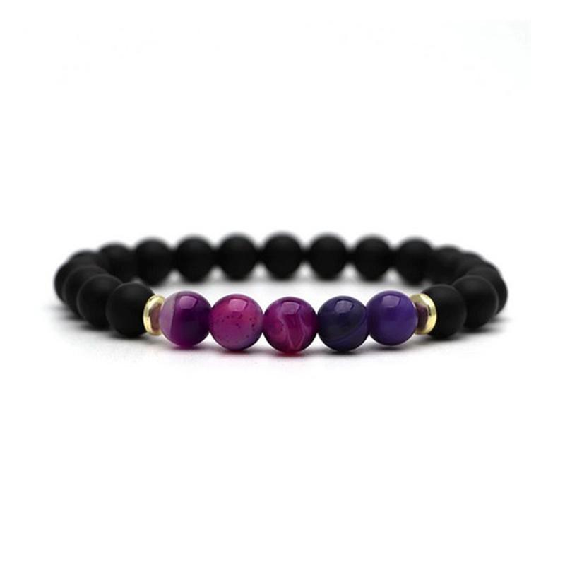 beaded-charm-stretch-bracelets-natural-multi-stones-matte-black-onyx-amethyst