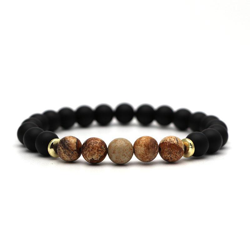 beaded-charm-stretch-bracelets-natural-multi-stones-matte-black-onyx-beige-jasper