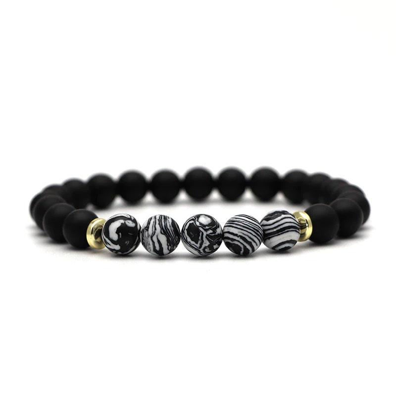 beaded-charm-stretch-bracelets-natural-multi-stones-matte-black-onyx-black-white-lace-agate