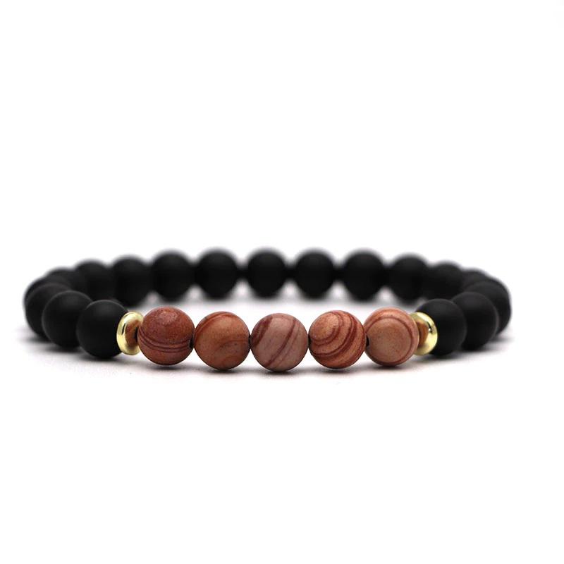 beaded-charm-stretch-bracelets-natural-multi-stones-matte-black-onyx-brown-agate