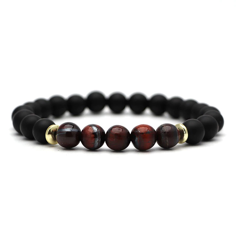 beaded-charm-stretch-bracelets-natural-multi-stones-matte-black-onyx-brown-tiger-eye