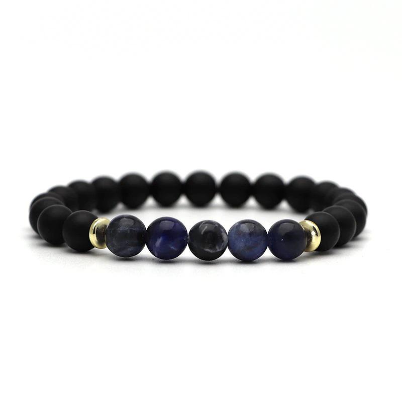 beaded-charm-stretch-bracelets-natural-multi-stones-matte-black-onyx-dark-blue-marble