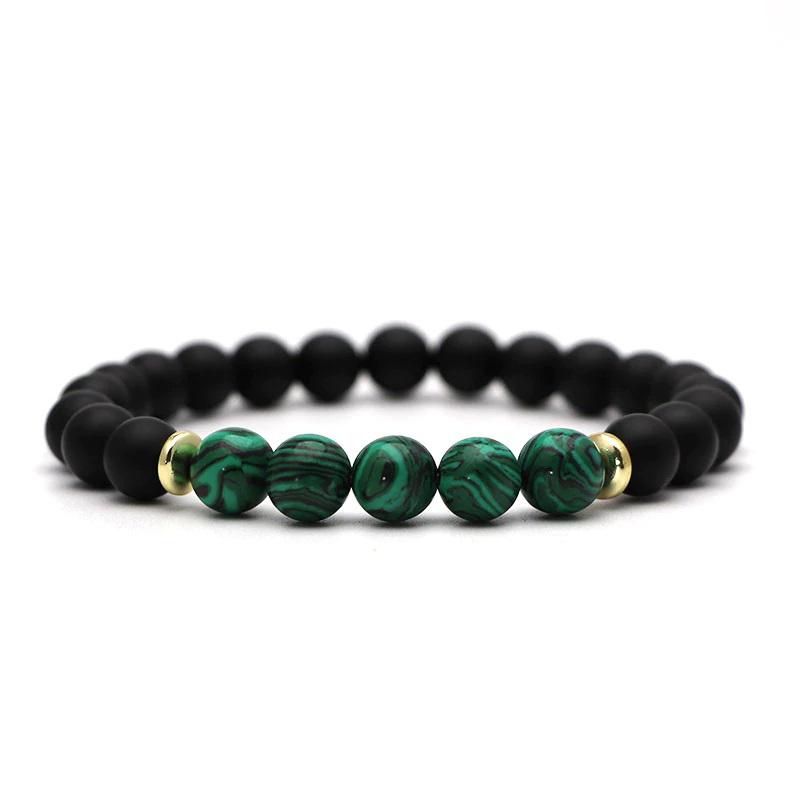 beaded-charm-stretch-bracelets-natural-multi-stones-matte-black-onyx-green-malachite
