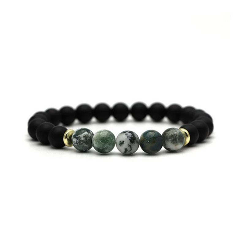 beaded-charm-stretch-bracelets-natural-multi-stones-matte-black-onyx-green-white-marble