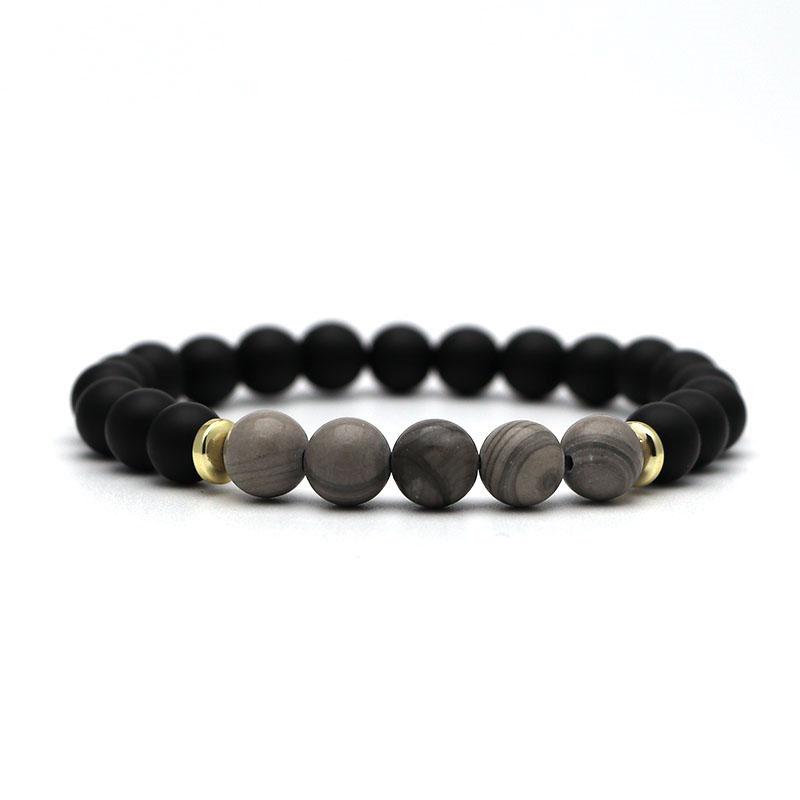 beaded-charm-stretch-bracelets-natural-multi-stones-matte-black-onyx-grey-lace-agate
