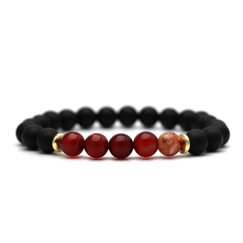 beaded-charm-stretch-bracelets-natural-multi-stones-matte-black-onyx-red-lace-agate