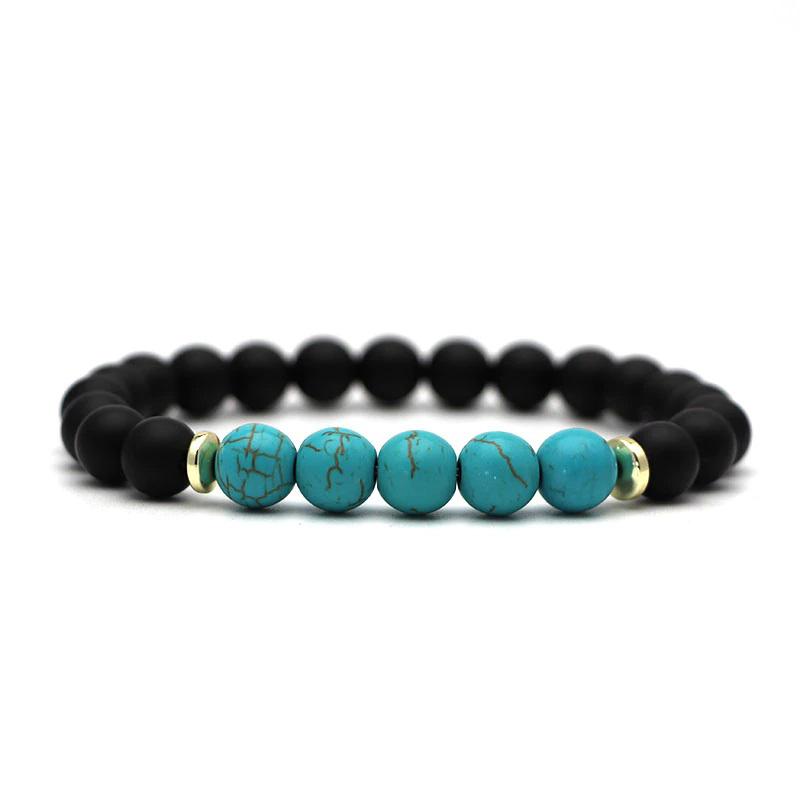 beaded-charm-stretch-bracelets-natural-multi-stones-matte-black-onyx-turquoise