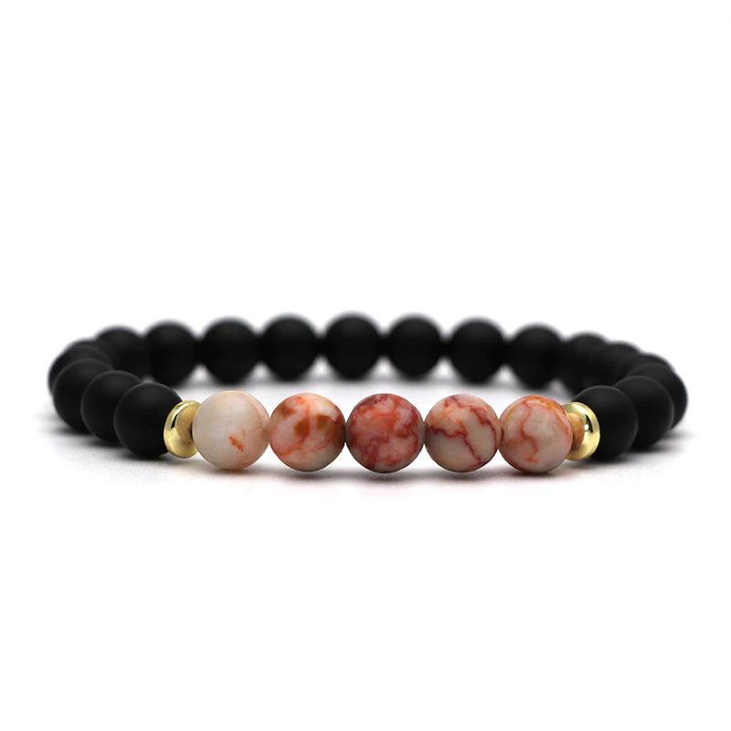 beaded-charm-stretch-bracelets-natural-multi-stones-matte-black-onyx-white-orange-marble