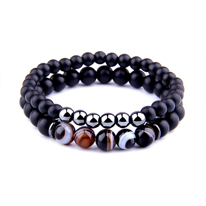 Couple Men's Bracelets Onyx Hematite Agate Stretch