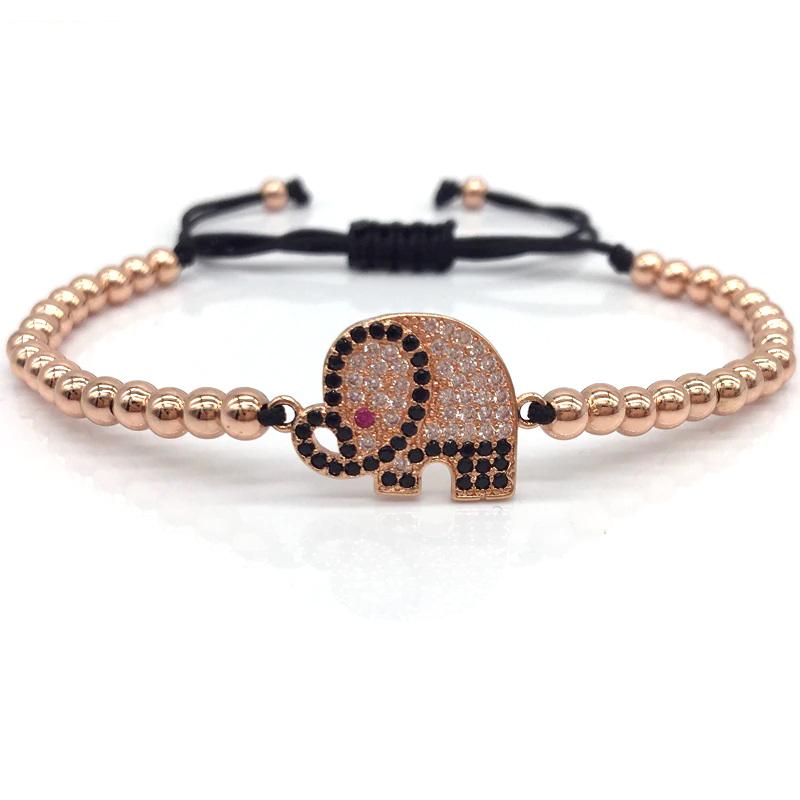Elephant Bracelet Charm Beaded Macrame Sliding Knot CZ