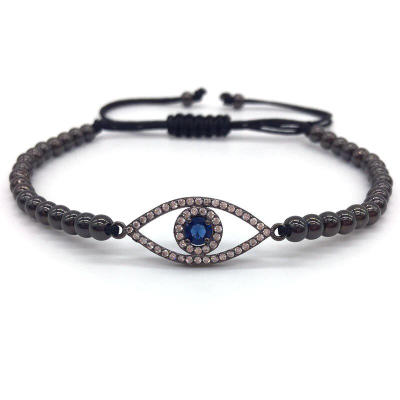 Evil Eye Bracelet Charm CZ Macrame Sliding Knot