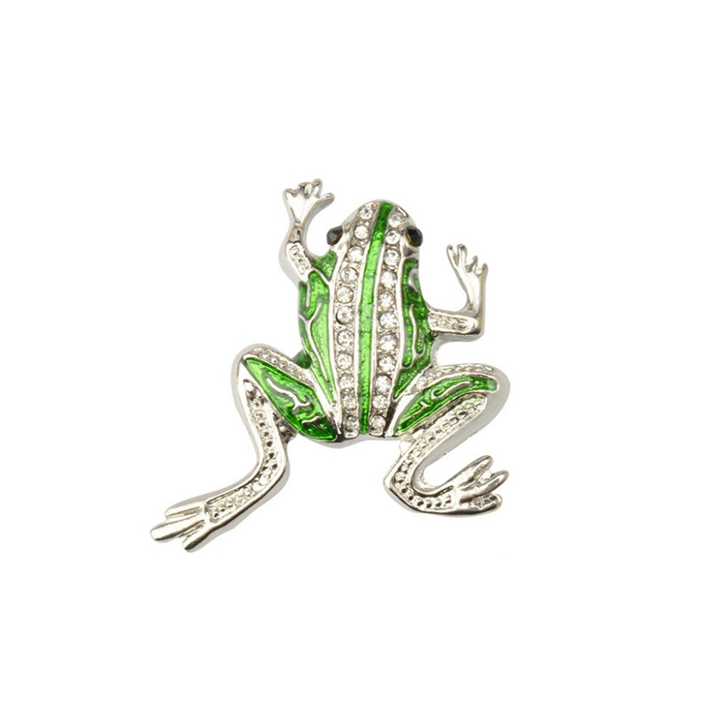 Frog Brooch Rhinestone Enamel Cloth Brooch
