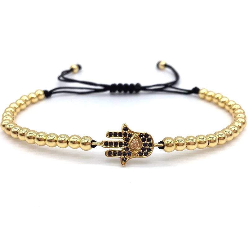 Hamsa Hand Charm Bracelet CZ Macrame Sliding Knot