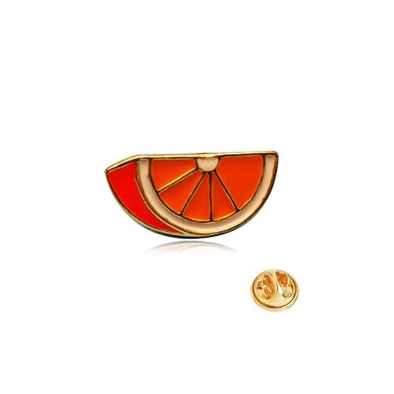 Orange Brooch Enamel Cloth Fruit Pin