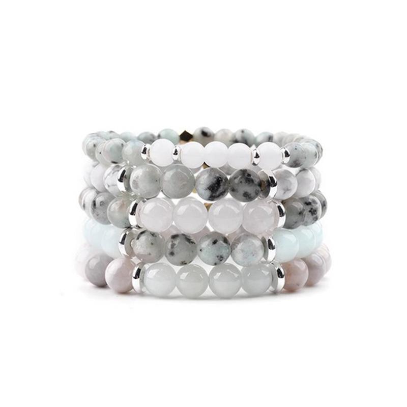 Quartz Agate Bracelets Charm Stretch Howlite Beads