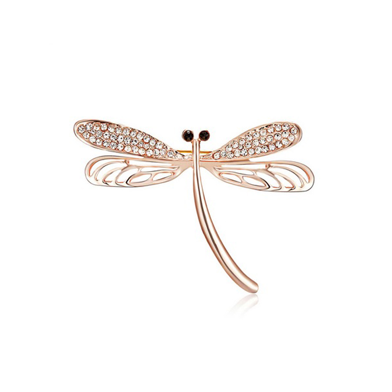 Rose Gold Dragonfly Brooch CZ Rhinestone Pin