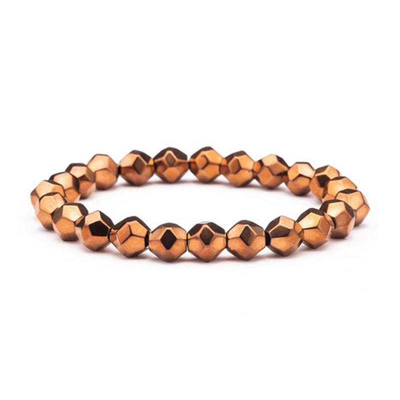 Bronze Plated Bracelet Beaded Stretch Stainless Steel