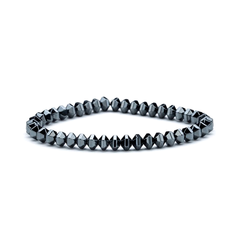Geometric Bead Bracelet Stretch Hematite