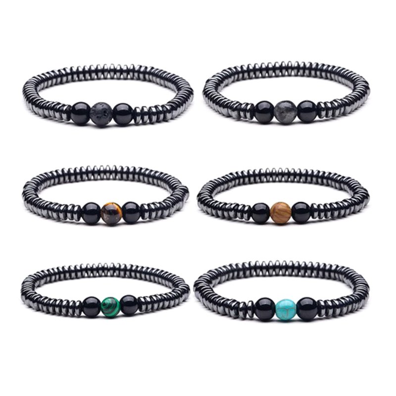 Gothic Bracelets Unisex Stretch Triple Beads