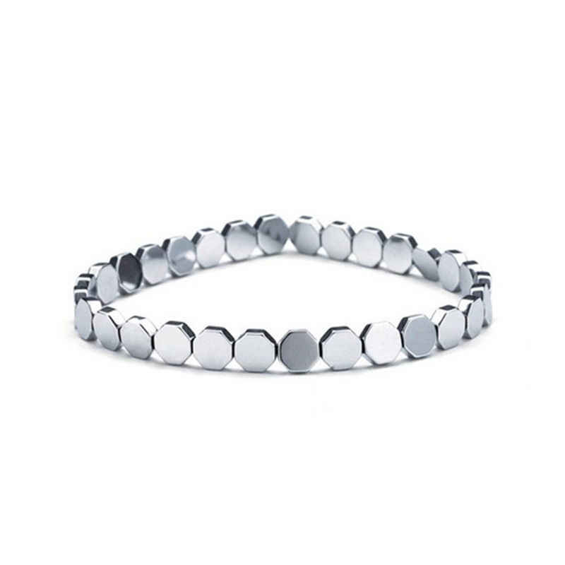 Octagon Beads Bracelet Silver Stretch