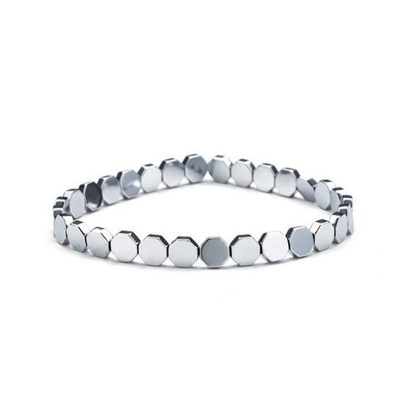 Octagon Beads Bracelet Silver Stretch