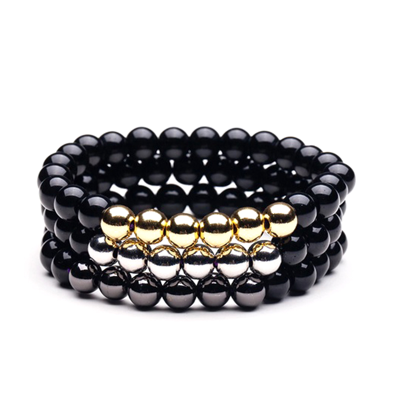 Stone Metal Beads Bracelet Black Gold Silver Stretch