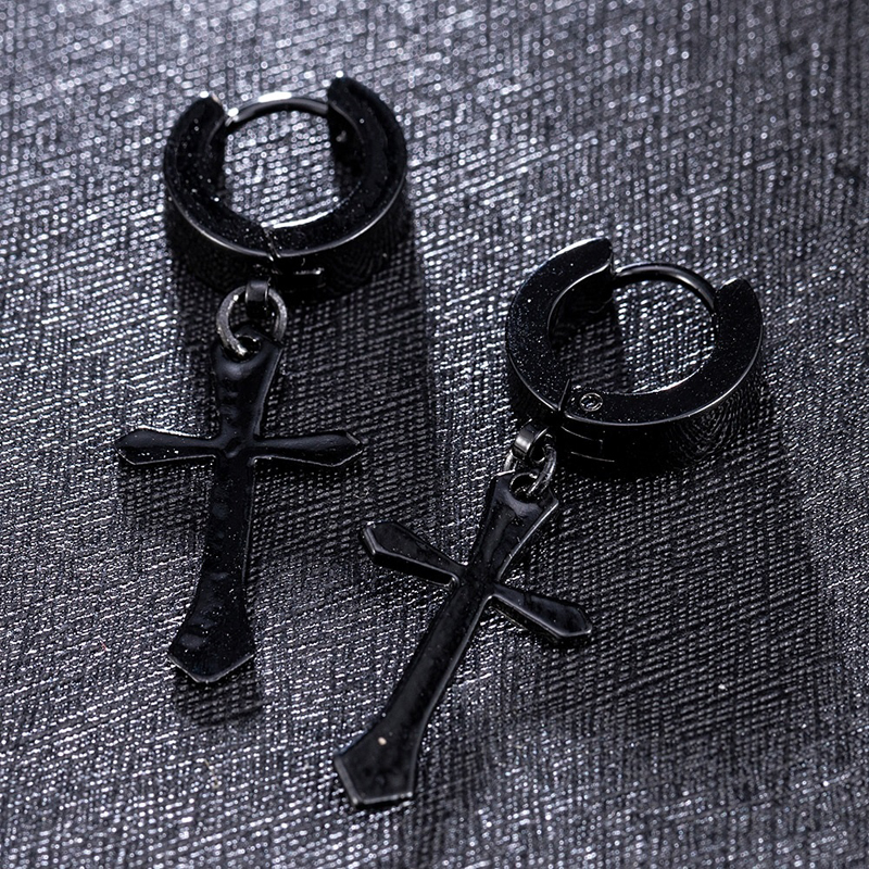 unisex-cross-earrings-black-titanium-punk-hoop