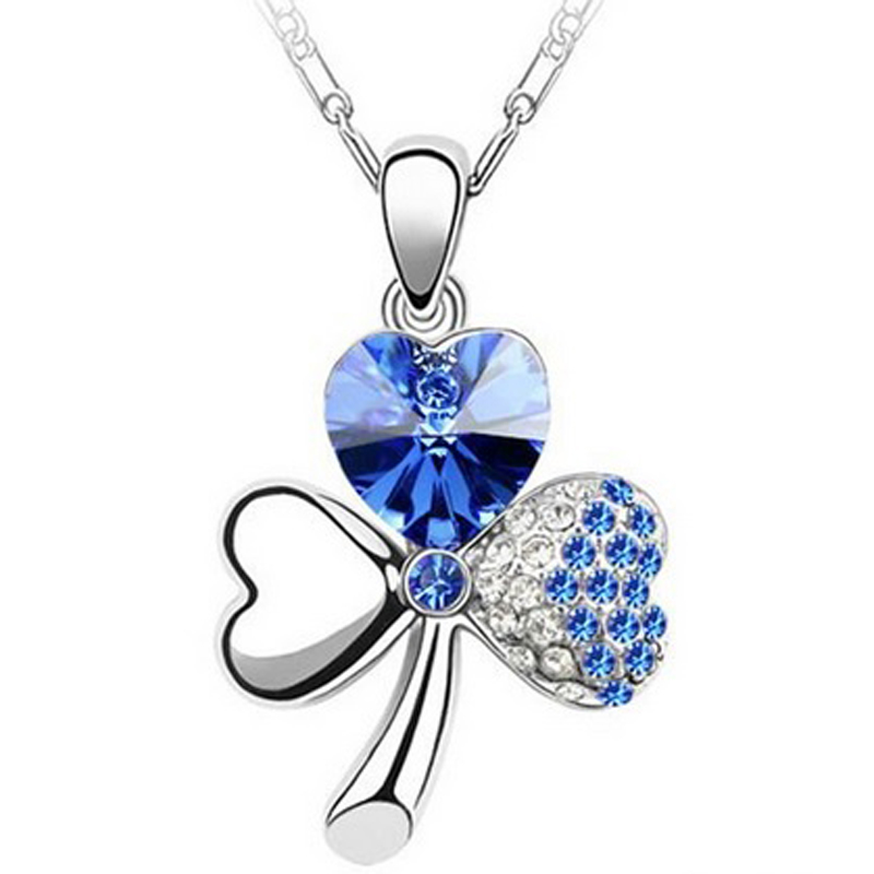 Clover Necklace Cubic Zirconia Crystal Copper Chain