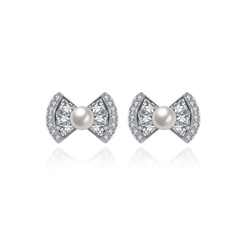 Bow Knot Earrings 925 Sterling Silver CZ Pearl Stud