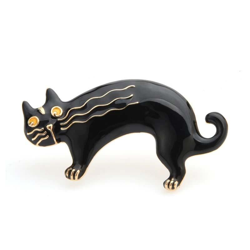 Cat Jewelry Pin Enamel Dress Brooch
