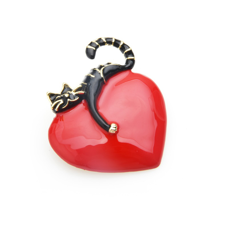 clothes-decoration-pin-heart-black-lazy-cat-brooch-enamel