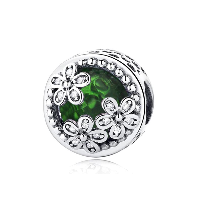 925 Silver Charm Crystal CZ Flower Bead