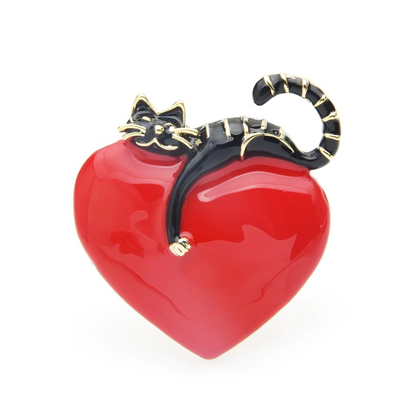 Heart & Lazy Cat Brooch Enamel Clothes Decoration Pin