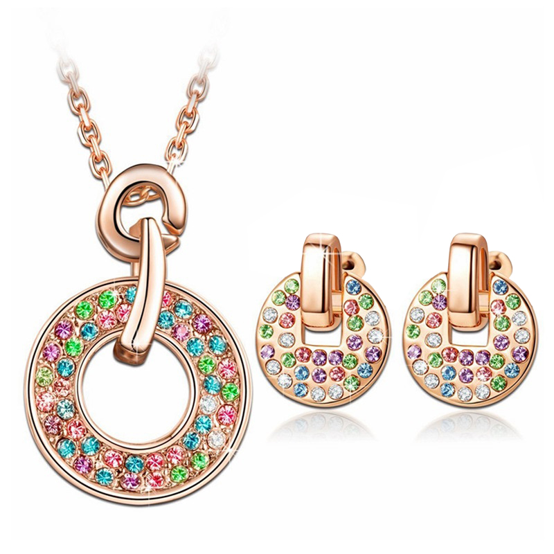 Multicolor Crystals Jewelry Set Pendant Necklace Earrings