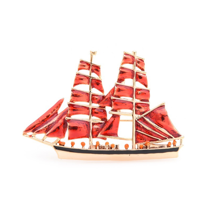 Sailboat Jewelry Pin Enamel Alloy Brooch Gift