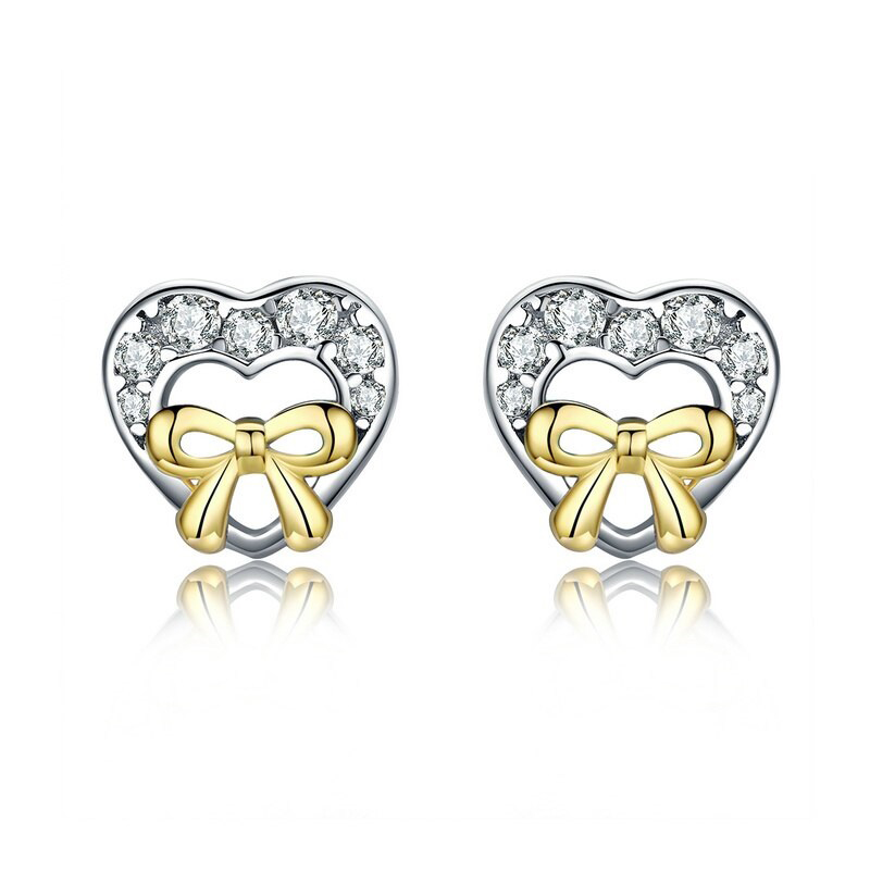 Bowknot Heart Stud Earrings CZ 925 Sterling Silver 18KGP