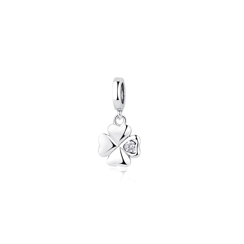 Clover Dangle Charm CZ 925 Fits Pandora Bracelets